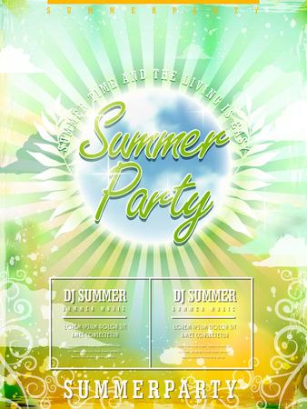 disco party: fresh summer beach party poster design template