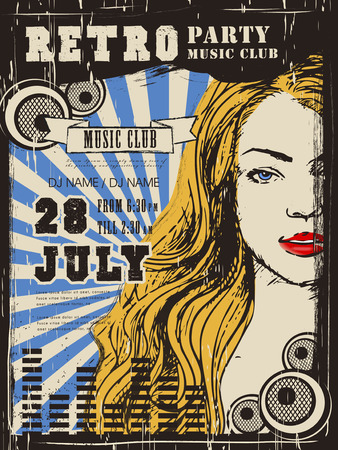 attractive woman: retro music party poster design with attractive woman Illustration