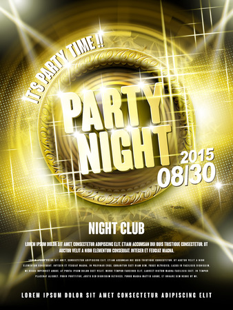 night party: gorgeous music party poster design with golden elements