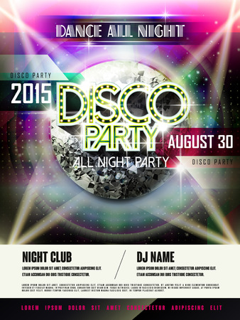 events: gorgeous disco party poster design with glitter mirror ball elements