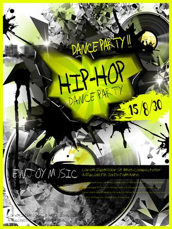 baile hip hop: fiesta de baile plantilla de diseño del cartel moderno, con discos de vinilo elementos