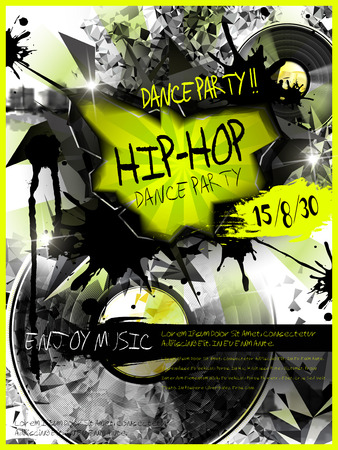 hip hop dance: modern dance party poster design template with vinyl records elements Illustration