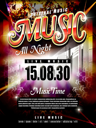 ad: modern music festival poster design template with abstract background