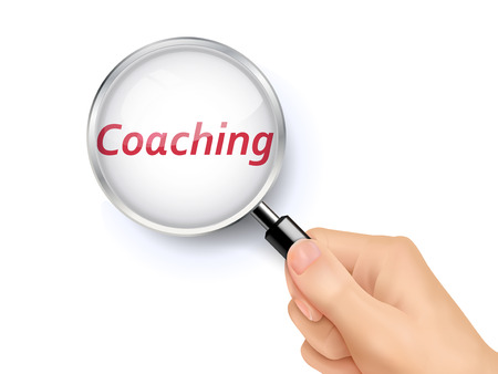 held: coaching showing through magnifying glass held by hand Illustration
