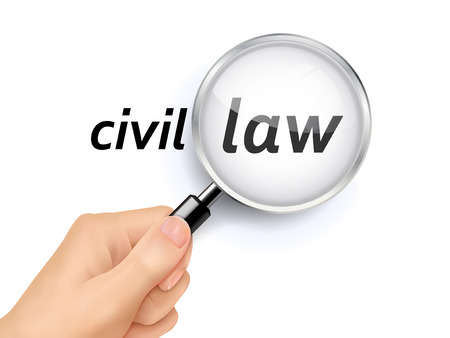 civil law: civil law showing through magnifying glass held by hand