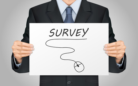 satisfactory: close-up look at businessman holding survey poster