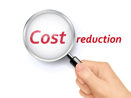 cost reduction: cost reduction showing through magnifying glass held by hand Illustration
