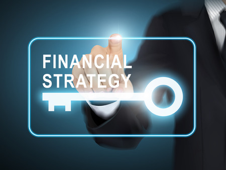 point of interest: male hand pressing financial strategy key button over blue abstract background Illustration