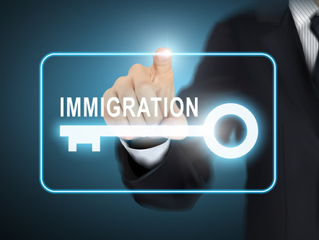 congress: male hand pressing immigration key button over blue abstract background Illustration
