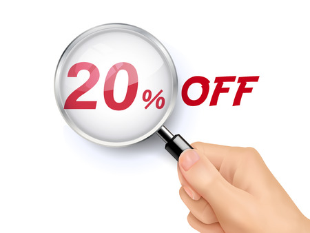 hand held: 20 percent off showing through magnifying glass held by hand Illustration