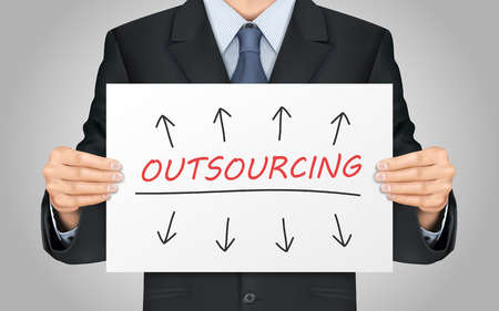 outsourcing: close-up look at businessman holding outsourcing poster