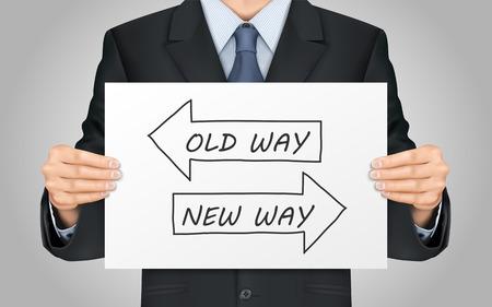 z bliska przyjrzeć się biznesmen gospodarstwa stary sposób lub nowy sposób plakat