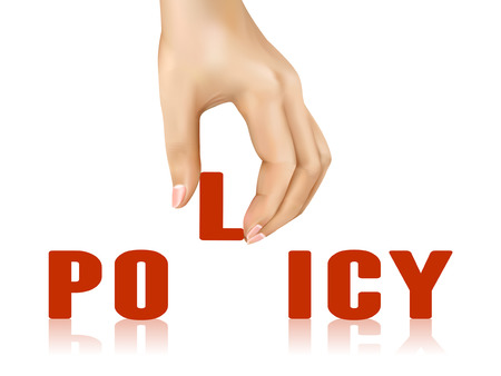 procedure: policy word taken away by hand over white background Illustration