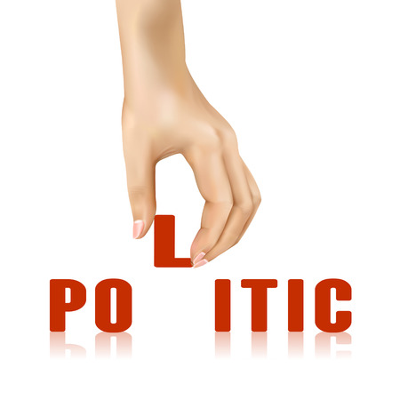 politic: politic word taken away by hand over white background Illustration