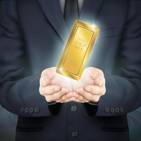 lingotes de oro: close-up mira empresario sosteniendo un lingote Vectores