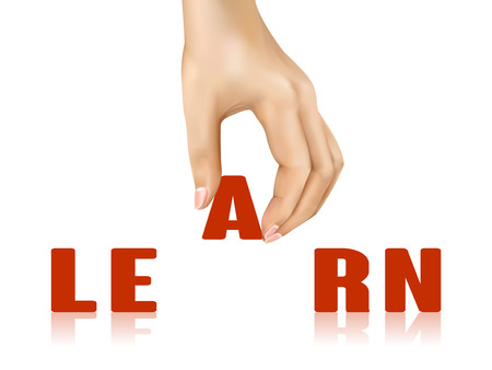 taken: learn word taken away by hand over white background