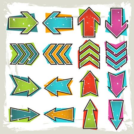 retro style: retro comic style arrows set isolated on white background