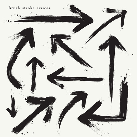 brush stroke: creative brush stroke arrows set isolated on beige background