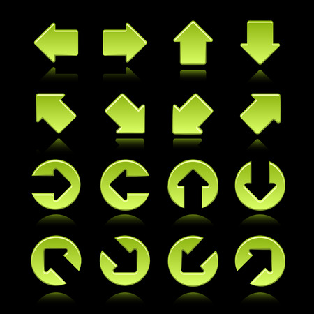 green arrows: modern green arrows set isolated on black background Illustration