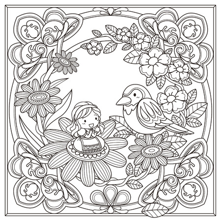 line design: black and white pattern for coloring book for adults with adorable girl and bird background