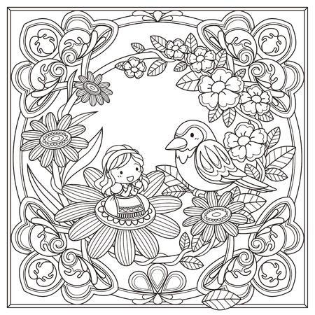 lijntekening: zwart-wit patroon voor kleurboek voor volwassenen met een schattig meisje en vogel achtergrond