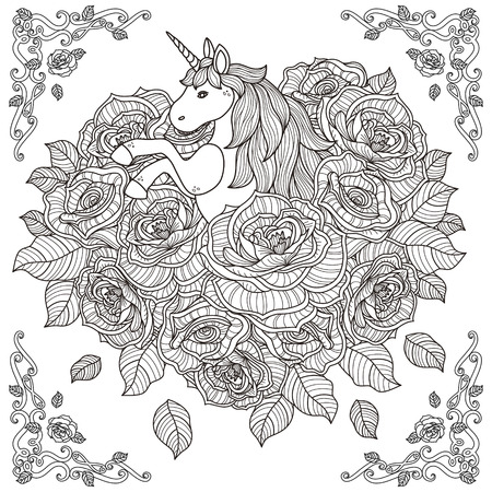 black and white pattern for coloring book for adults with adorable unicorn and roses background