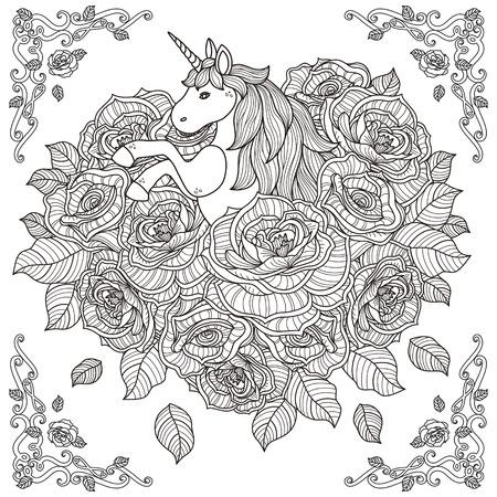 zwart-wit patroon voor kleurboek voor volwassenen met schattige eenhoorn en rozen achtergrond Stock Illustratie