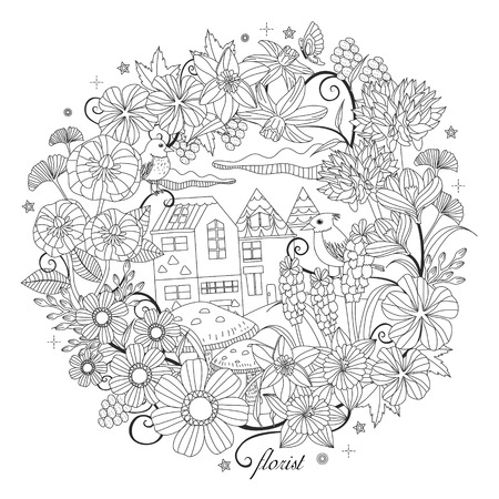 black and white pattern for coloring book for adults with fantastic garden scenery