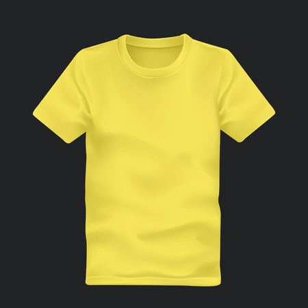 mans t-shirt in yellow isolated on black background Illustration
