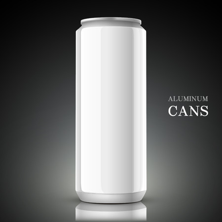 black metal: white aluminum can isolated on black background Illustration
