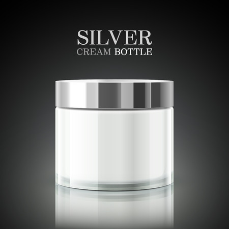silver cream bottle package isolated on black background