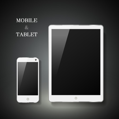 blank tablet: blank mobile and tablet set isolated on black background