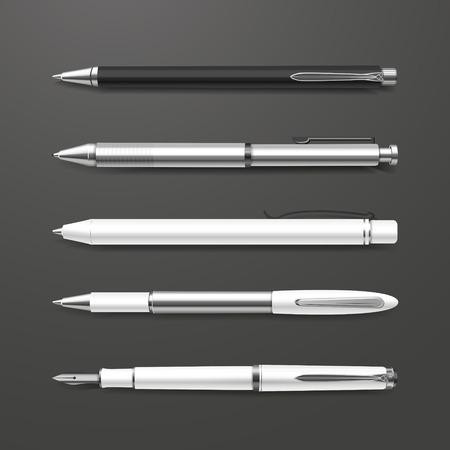 clerical: graceful white pens set isolated on black background Illustration