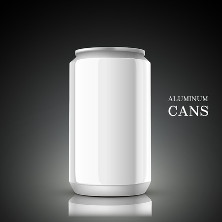 tin packaging: white aluminum can isolated on black background Illustration