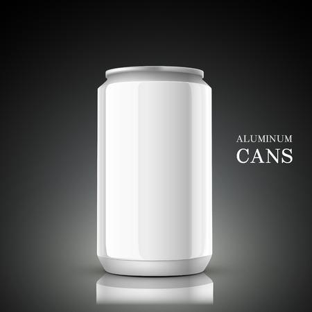 aluminum background: white aluminum can isolated on black background Illustration