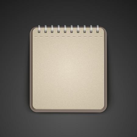open notebook: open blank brown notebook over black background