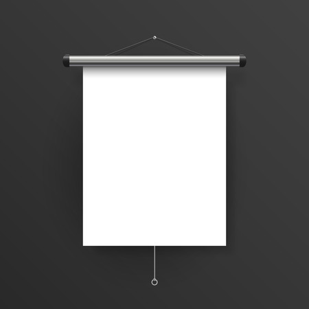 projector screen: elegant blank projector screen isolated on black wall Illustration