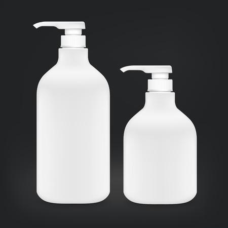 shampoo bottles: blank shampoo bottles set isolated on black background