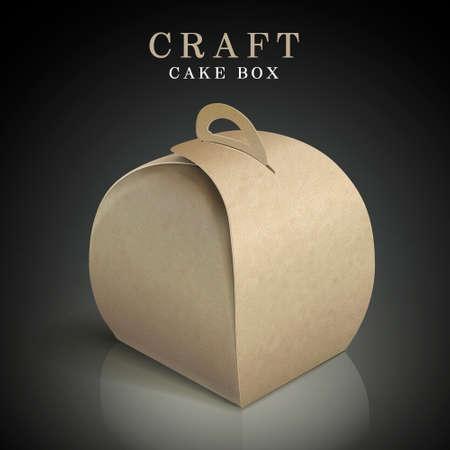 sweet background: craft cake box isolated on black background Illustration