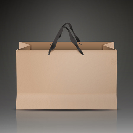 kraft paper bag isolated on black background