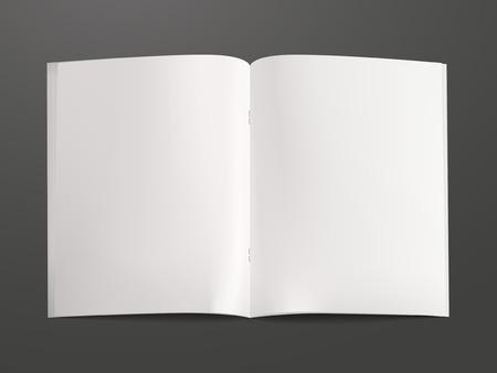 黒の背景に分離された空白の開いた本テンプレート  イラスト・ベクター素材