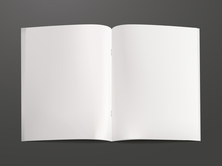 open diary: blank open book template isolated on black background