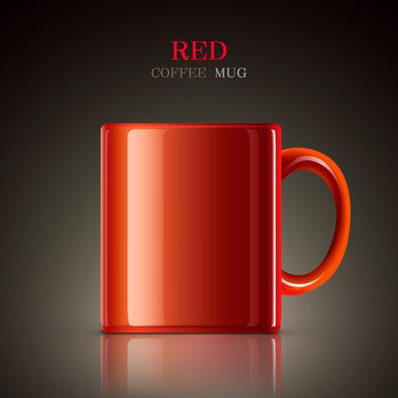 mug: classic red mug isolated on black background