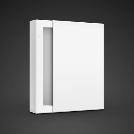 cd case: blank paper box template isolated on black background