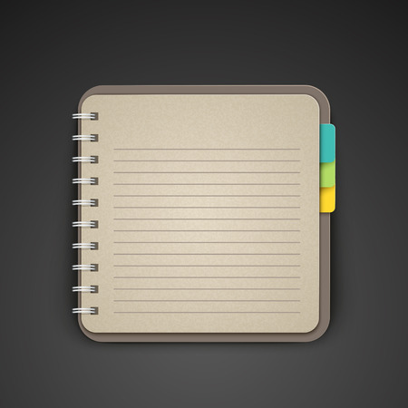 open notebook: open blank lined notebook over black background