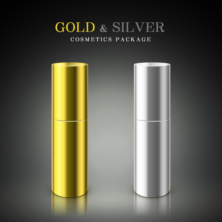 cosmetics background: golden and silver cosmetic package isolated on black background Illustration