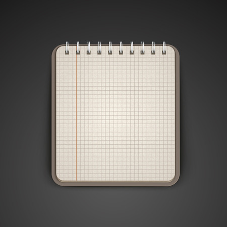 open notebook: open grid brown notebook over black background