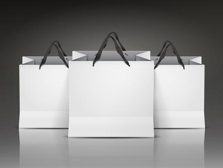 흰색 쇼핑백 검은 배경에 고립 된 집합