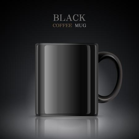 mug: classic black mug isolated on black background