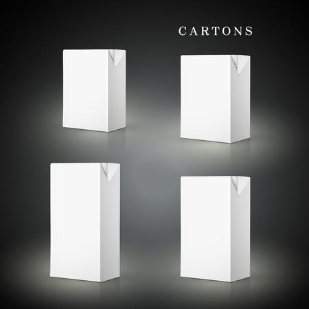 white drink cartons set isolated on black background Illustration